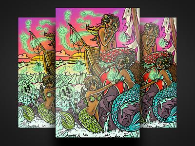 Siren Sisters sunset nautical ocean siren mermaid procreate app ipad art illustration illustrator
