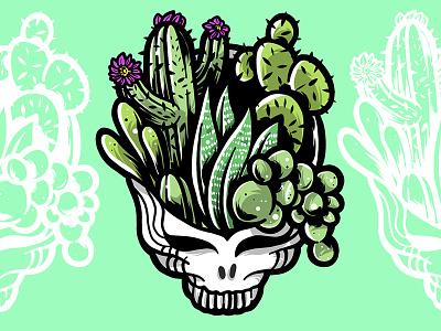 Succulent Stealie succulents skull stealie vector logo music grateful dead