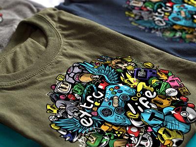 Extra-Life CFG Shirt handlettering gamer gaming video games ipad art illustration illustrator