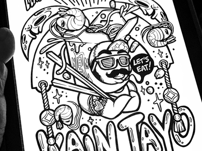 Kain Tayo toon culture takeout food eat tagolog pinay hand lettering night market