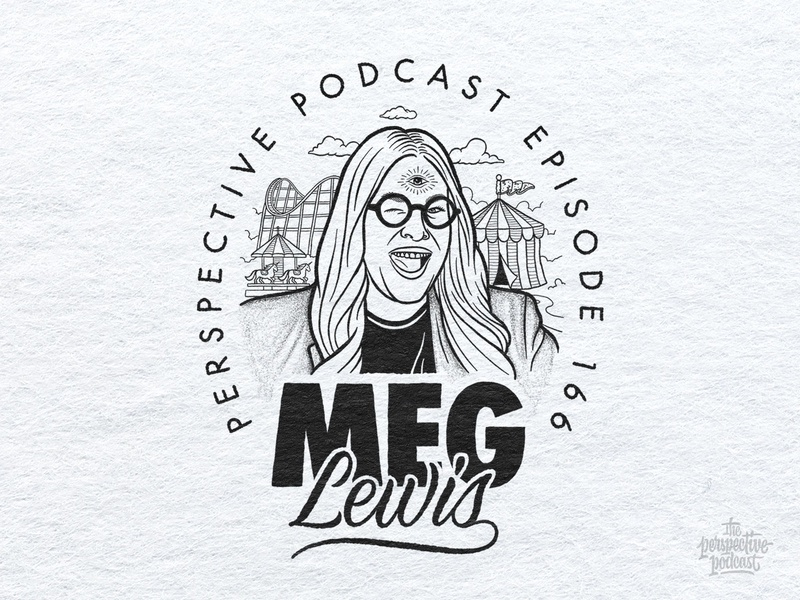 Meg Lewis Portrait Illustration Podcast Art drawing typography portrait illustration art procreate handdrawn design podcast illustration hand lettering lettering