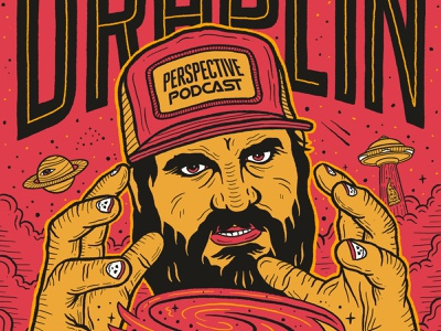 Aaron Draplin Portrait Illustration Perspective Podcast Art podcast art branding procreate art procreate typography portrait illustration portrait art design podcast illustration hand lettering lettering
