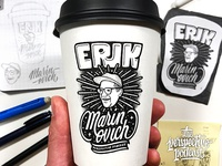 Erik Marinovich Coffee Cup Art