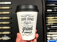 Good Things to Grinders Coffee Cup Drawing
