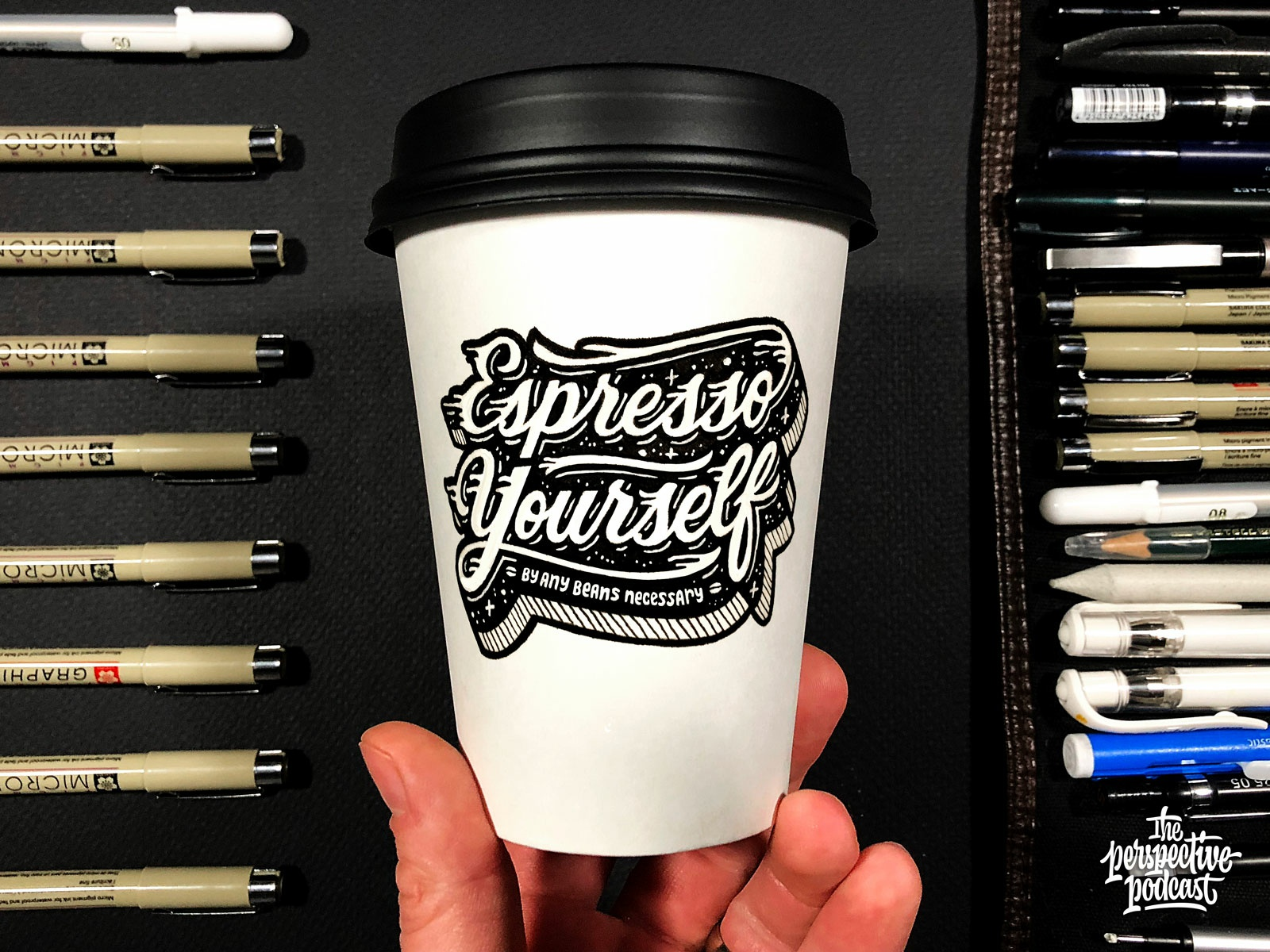 Drawing cup with lettering coffee and coffee