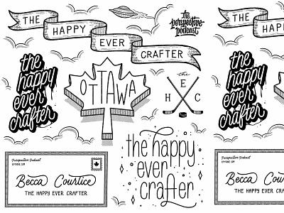 Perspective Podcast Happy Ever Crafter Flash Sheet podcast art blog typography logo procreate design podcast illustration hand lettering lettering