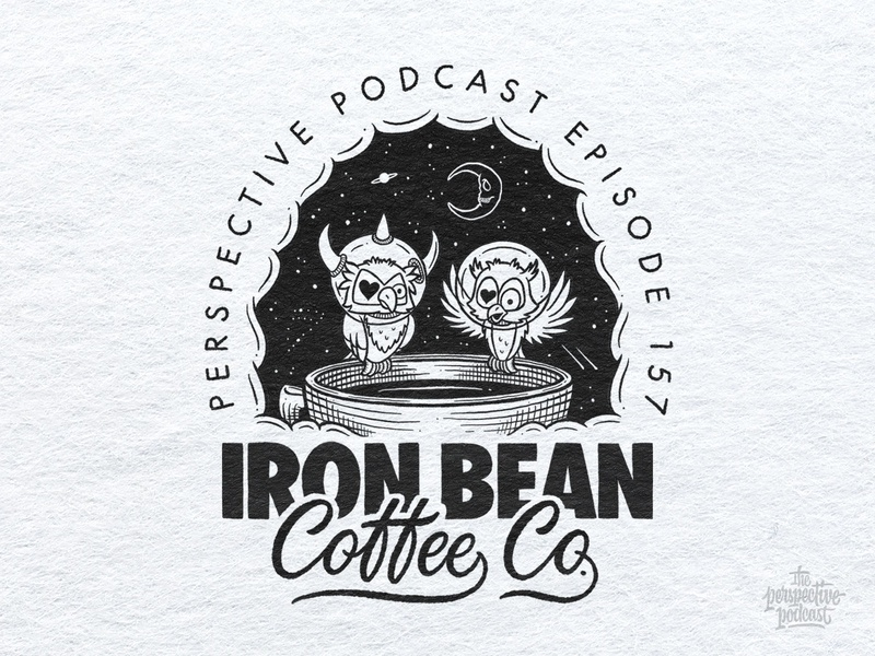 Iron Bean Coffee Company Portrait Illustration Podcast Art drawing typography art procreate handdrawn design podcast illustration hand lettering lettering