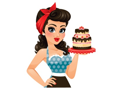 Sweet Pin Up Girl pin up girl woman brunette cute sexy red vintage retro cake dessert