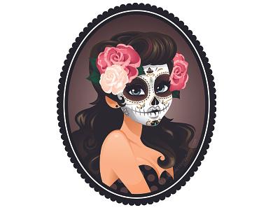 Sugar Skull suger skull cameo woman roses pin up girl