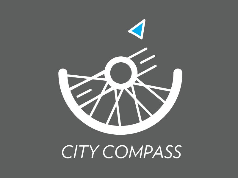 City Compass Logo app bike wheel line logo compass