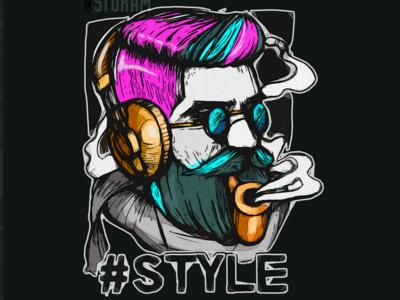 Bearded Hipster Custom T-Shirt/Apparel Design