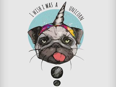 Unicorn Pug Custom Apparel/T-Shirt Design