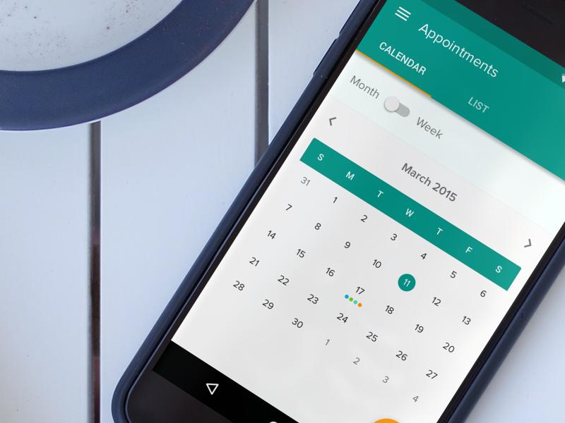 Material Calendar ux ui material calendar android