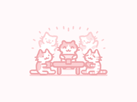 Family illustration cute art cute illustration flat color characters pink kitty cats cute
