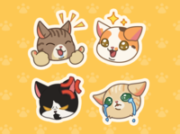 Furistas Cat Cafe - iMessage Stickers vector art game branding cute illustration cute animals flat color characters kitty illustrator cute art vector cute cat