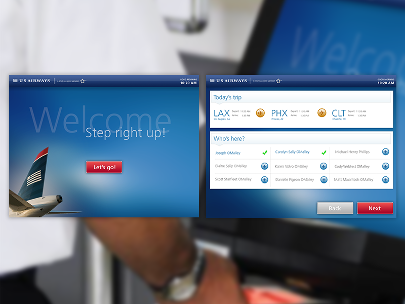 US Airways Kiosk redesign travel us airways kiosk airport airline passenger check in checkin