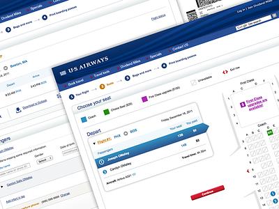 US Airways Web Check In web checkin airline travel boarding pass usairways flow seat map passenger flight