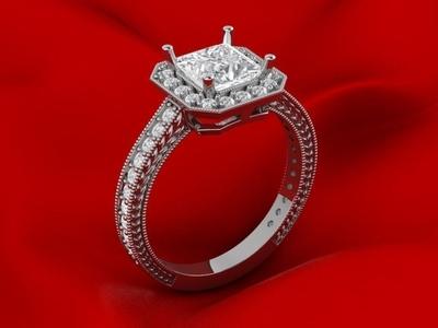 Luxury Princess Ring 3D Model