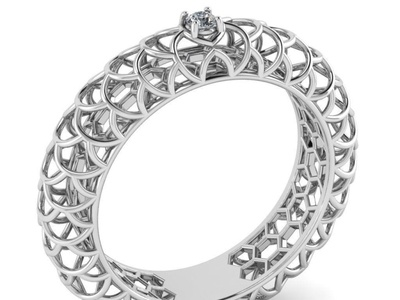 Beautiful Pattern Ring with Gem 3D Model