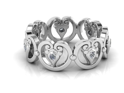 Ornamental Ring with Gems 3D Model