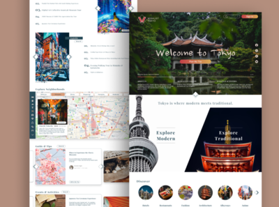 A web landing page for travel planning in Tokyo