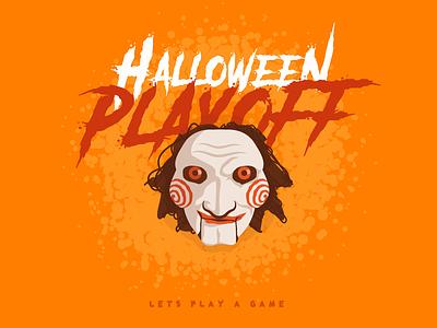 halloween playoff - stickermule sticker playoff movie typography character 2d vector art flat illustration design