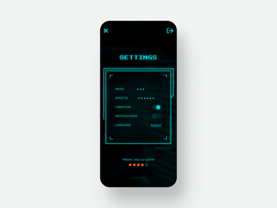 Daily UI #7 ~ Settings ux screen cyberpunk game settings mobile concept awsmcolor app ui dailyuichallenge daily ui daily