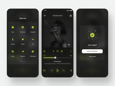 Daily UI #9-11 ~ Music Player neon green redesign message share player music dark theme awsmcolor mobile concept app dailyuichallenge daily ui ui daily