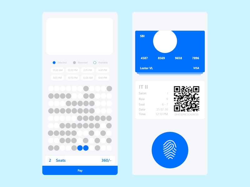 Prime time Sea selection and payment Mobile App #2 ux design uidesign ios movies app movie app blue movie seats seats bank movies xd figma mobile branding android app xd design