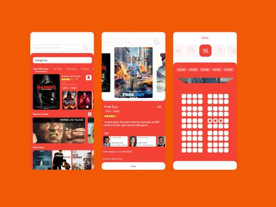 Movie cart Mobile App ux design ui design movieapp movies app movies branding xd figma design mobile ios android app xd design