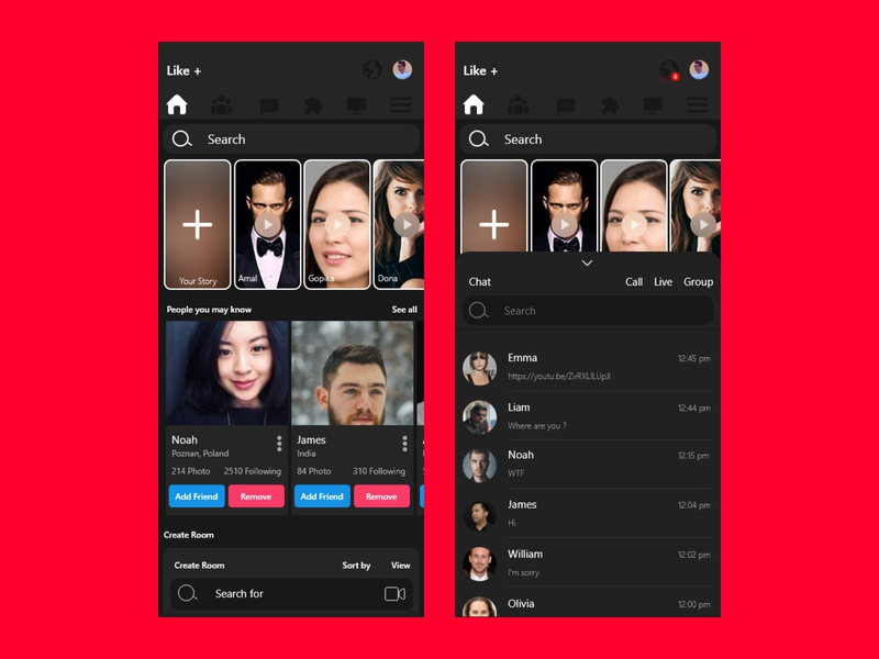 LIKE: Social Media App Dashboard and Message Screen ux design ui design social media app message app message screen social media branding mobile ios android app figma xd design