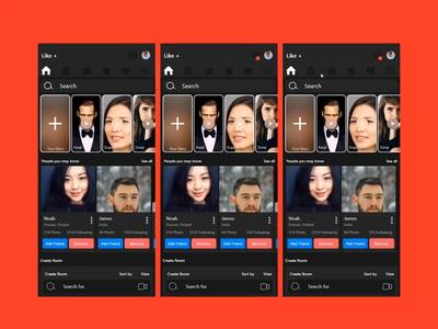 LIKE: Social Media App Dashboard and Message ux design ui design ux ui branding after effect mobile ios android app xd design