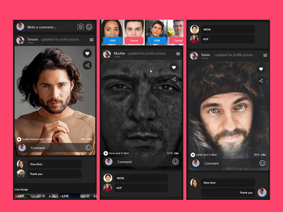 LIKE: Social Media App ( like, share and common ) ux design ui design ui  ux uiux common share like ux ui branding after effect mobile ios android app xd design