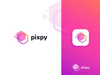 Logo Design for Pixpy p logo gradient logo simple pixel logo abstract logo icon design popular logo popular logotype modern logo logo mark logo design logo process identity logo creative logo vector flat branding