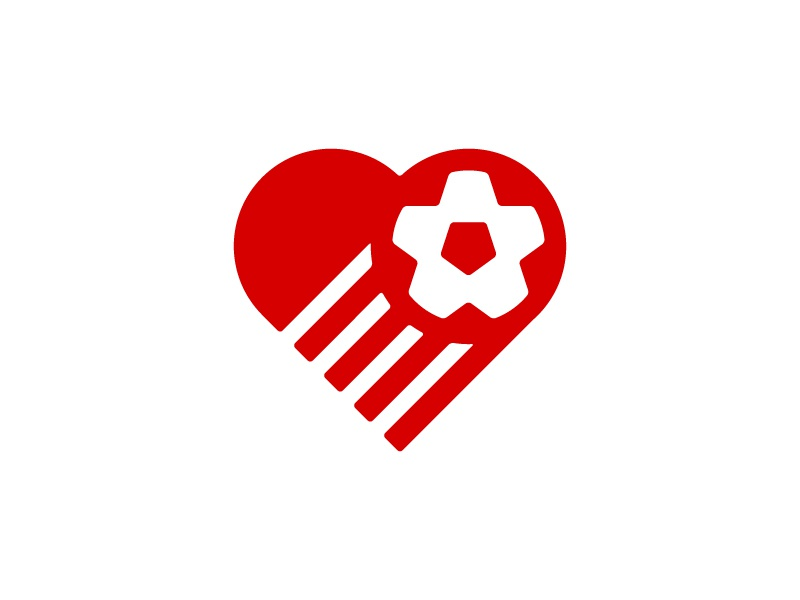 Play Soccer 2 Give logo mark identity soccer football futbol heart simple nonprofit charity
