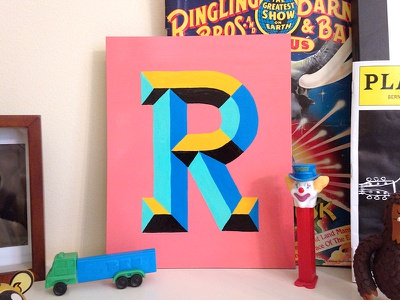 Chiseled R facets chiseled faceted r letter signpainting letters lettering type typography