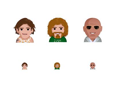 TW Emoji / HBO hbo dwayne johnson the rock tj miller lena dunham time warner characters avatars icons illustration keyboard emoji