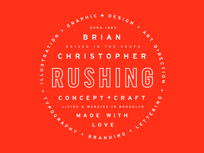 Rushing badge composition layout personal brand typography type branding