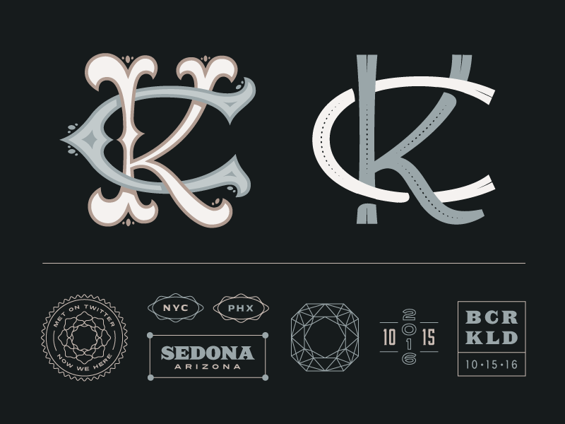 Kelsey + Chris typography monogram graphic design invitations elements branding wedding