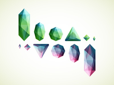 Crystals crystals gems green red blue assets illustration drawing vector