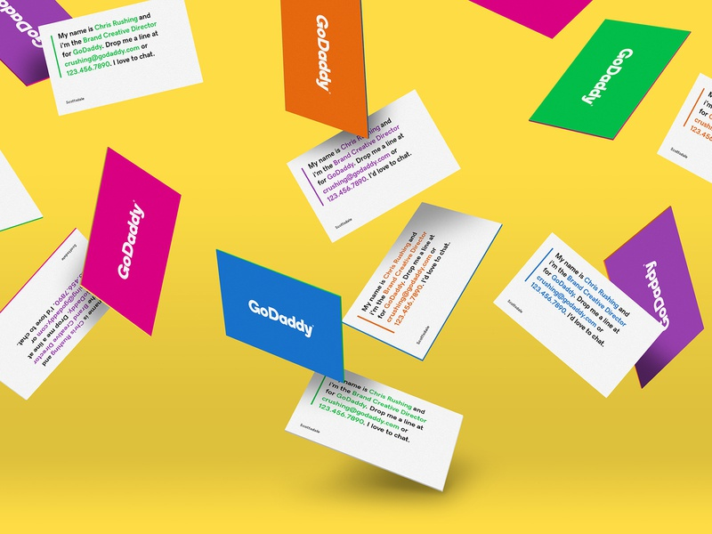 GoDaddy Business Cards coloful colors branding brand collateral business cards godaddy