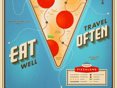 PIZZALAND - On Wander Postcard pizza maps mapping cartology cheese pepperoni sauce type typography onwander
