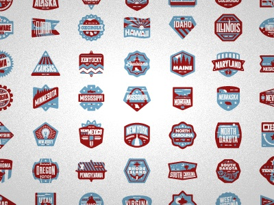 a sample of what's to come... badges illustration marks states politics usa america