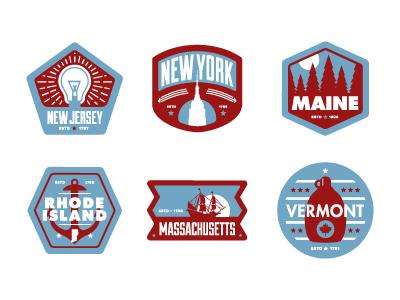 Floor Pass badges Northeast badges states app branding pins icons illustration new jersey new york nyc maine rhode island massachusetts vermont