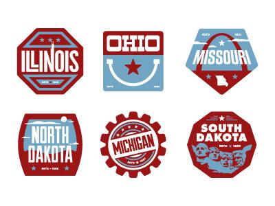 Floor Pass badges Midwest badges states app branding pins icons illustration illinois ohio missouri north dakota michigan south dakota