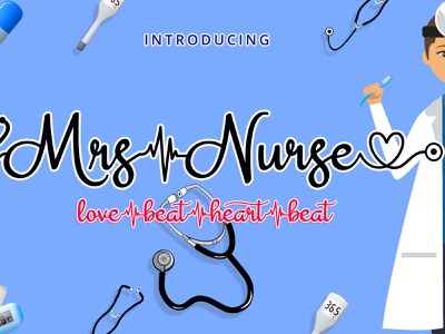 Mrs Nurse - Medical Stethoscope Font Script handwriting script font display font health font playful font cute font nurse font doctor font medical font script font handwritten fonts