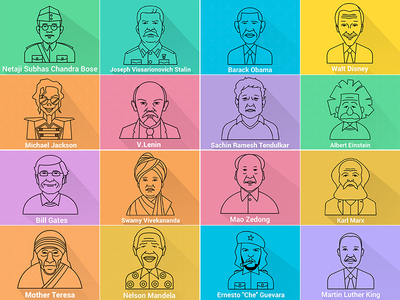 Line Icon of famous peoples