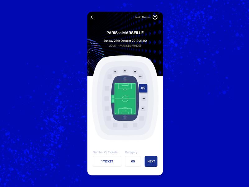 Booking Seat in Soccer Stadium psg sport ticket stadium mobile app ux ui