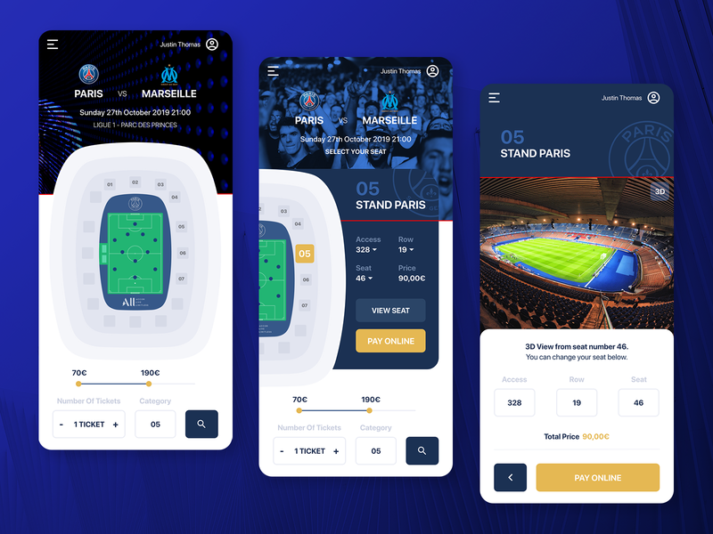Steps for Booking Seat in Soccer Stadium sport ticket soccer football stadium psg booking mobile app ux ui