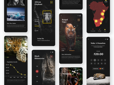 Threatened Species - Mobile App clean national geographic application user experience mobile app ux ui
